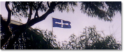 Eureka flag over Sydney Harbour